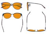 Ladies Nighttime Blue Blocking Glasses - Butterfly Design Computer Eyegalsses Women Anti Screen Light UV Rays - Blocking Digital Glare with Orange Tint Filter Lens - Blue LX19031-BB98