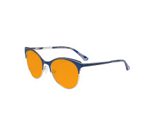 Round Nighttime Blue Blocking Glasses for Women Block Digital Glare - Oversize Design Computer Eyegalsses Women Anti Screen Light UV Rays with Orange Tint Filter Lens - Blue&Silver LX19042-BB98