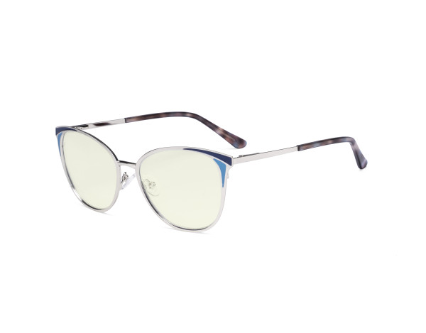 Ladies Blue Light Filter Glasses - Butterfly Design Computer Eyegalsses Women Anti Screen UV Rays - Blocking Digital Glare with Transparent Blue Lens - Silver LX19031-BB40