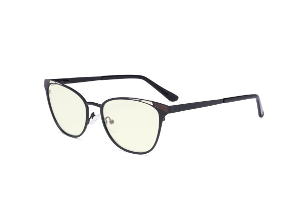 Blue Light Filter Glasses for Women Blocking Digital Glare - Butterfly Design Computer Eyegalsses Anti Screen UV Rays with Transparent Blue Lens - Black LX19035-BB40