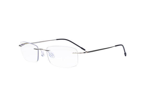 Frameless Progressive Reading Glasses Rimless Multifocus Readers with Blue Light Filter UV Protection Reader Men Women - Silver MWK8