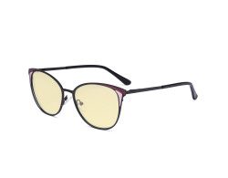 Ladies Blue Light Blocking Glasses - Butterfly Design Computer Eyegalsses Women Anti Screen UV Rays - Blocking Digital Glare with Yellow Tint Filter Lens - Black LX19031-BB60