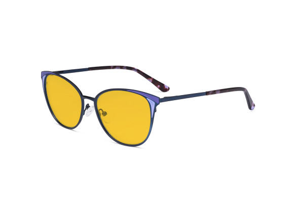 Ladies Blue Light Blocking Glasses - Butterfly Design Computer Eyegalsses Women Anti Screen UV Rays - Blocking Digital Glare with Amber Tint Filter Lens - Blue LX19031-BB90