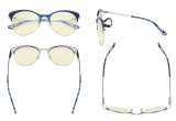 Round Blue Light Filter Glasses for Women Blocking Digital Glare - Oversize Design Computer Eyegalsses Anti Screen UV Rays with Transparent Blue Lens - Blue&Silver LX19042-BB40