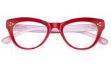 Large Cateye Design Glasses Oversized Eyeglasses Readers for Women - Red R9108