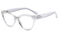 Large Cateye Design Glasses Oversized Eyeglasses Readers for Women - Transparent Frame R9108