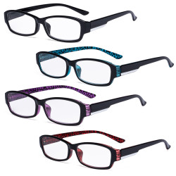 4 Pack Reading Glasses - Stylish Readers for Women Reading Mix Color R9105