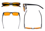 Blue Blocking Glasses for Men Women Reading Computer Screen - Anti Digital Glare Blue Light Filter Eyewears with Orange Tinted Sleeping Eyeglasses Readers- Black DSR012