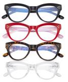 4-pack Cateye Design Reading Glasses Oversized Readers Eyeglasses Readers for Women Reading