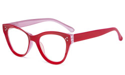 Large Cateye Design Glasses Oversized Eyeglasses Readers for Women - Red R9108