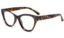 Large Cateye Design Glasses Oversized Eyeglasses Readers for Women - Tortoise R9108