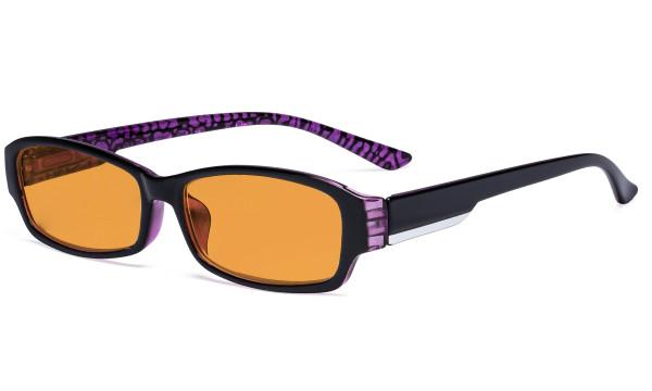 Blue Blocking Glasses for Women Nighttime Reading Computer Screen - Anti Digital Glare Blue Light Filter Readers with Orange Tinted Eyeglasses Reading Glasses- Purple DS9105