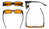 Blue Blocking Glasses for Women Nighttime Reading Computer Screen - Anti Digital Glare Blue Light Filter Readers with Orange Tinted Eyeglasses Reading Glasses- Black DS9105