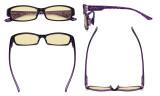 Blue Light Blocking Glasses for Women Reading Computer Screen - Filter UV Rays Anti Digital Glare Readers with Yellow Filter Eyeglasses Reading Glasses - Purple TM9105