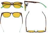 Blue Light Blocking Glasses for Women Reading Screen - Stylish Computer Glasses Reading Glasses Anti UV Rays Amber Tinted Blue Glare Filter Lens - Tortoise/Green HP079D
