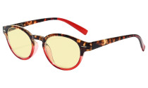Blue Light Blocking Glasses Reading Glasses for Women Reading Computer Oval Yellow Filter Readers - Tortoise/Red TM091D