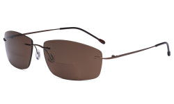 Frameless Bifocal Sunglasses Women Men Lightweight Rimless Bifocal Readers for Reading under the Sun - Brown/Brown lens SGWK4