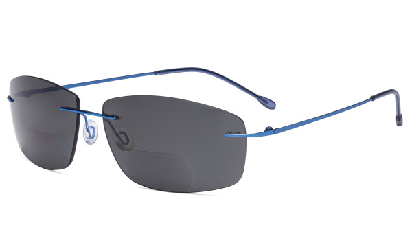Frameless Bifocal Sunglasses Women Men Lightweight Rimless Bifocal Readers for Reading under the Sun - Blue/Grey lens SGWK4