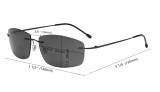 Frameless Bifocal Sunglasses Women Men Lightweight Rimless Bifocal Readers for Reading under the Sun - Black/Grey Lens SGWK4