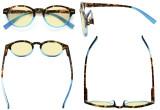 Blue Light Blocking Glasses Reading Glasses for Women Reading Computer Oval Yellow Filter Readers  - Tortoise/Blue TM091D