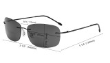 Rimless Bifocal Sunglasses Women Men Lightweight Bifocal Readers for Reading under the Sun - Black/Grey lens SGWK2