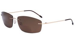 Frameless Bifocal Sunglasses Women Men Lightweight Rimless Bifocal Readers for Reading under the Sun - Gold/Brown lens SGWK4