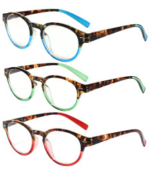 3 Pack Round Reading Glasses Oval Stylish Reader Eyeglasses for Women Reading Mix Color R091D