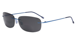Rimless Bifocal Sunglasses Women Men Lightweight Bifocal Readers for Reading under the Sun - Blue/Grey lens SGWK2