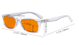 Blue Light Blocking Computer Glasses Reading Glasses Women Men with Orange Tinted Filter Lens - Classic Eyeglasses Readers- Transparent DSR075