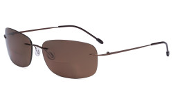 Rimless Bifocal Sunglasses Women Men Lightweight Bifocal Readers for Reading under the Sun - Brown/Brown lens SGWK2
