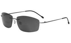 Frameless Bifocal Sunglasses Women Men Lightweight Rimless Bifocal Readers for Reading under the Sun - Gunmetal/Grey lens SGWK4