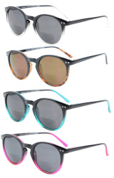 4 Pack Bifocal Sunglasses for Women Reading under the Sun Round Bifocal Readers Mix Color S005