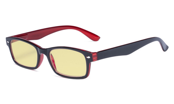 Blue Light Blocking Computer Glasses Reading Glasses-Yellow Tinted Lens Eyeglasses Readers- Black Red TMCG055