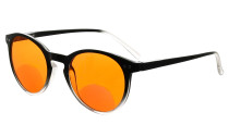 Blue Light Blocking Bifocal Readers Nighttime Cut Blue Rays Bifocals Reading Glasses Women Round Orange Tinted Black/Clear DSS005