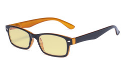Blue Light Blocking Computer Glasses Reading Glasses-Yellow Tinted Lens Eyeglasses Readers- Black Yellow TMCG055