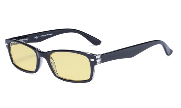 Blue Light Blocking Computer Glasses Reading Glasses-Yellow Tinted Lens Eyeglasses Readers- Black TMCG055