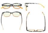 Blue Lens Glasses Reading Glasses Women Screen Light Filter Blocking UV Rays Readers for Reading Computer -Brown UVR9111