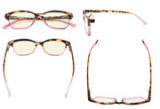 Blue Lens Glasses Reading Glasses Women Screen Light Filter Blocking UV Rays Readers for Reading Computer -Pink UVR9111