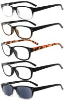 Reading Glasses Quality Spring Hinge 5-pack Includes Sunglasses Readers Women Men R019