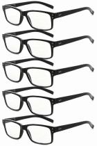 Reading Glasses 5-pack Vintage Classic Frame Readers Women Men Black R032-5pcs