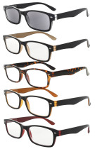 Reading Glasses 5-pack Quality Spring Hinge Includes Sunshine Readers Mix Color R055-5 pairs mix