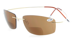 Titanium Rimless UV400 Polycarbonate Bifocal Sunshine Readers Bifocal Sunglasses - Brown Lenses S1504