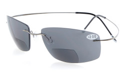 Titanium Rimless UV400 Polycarbonate Bifocal Sunshine Readers Bifocal Sunglasses - Grey Lenses S1504