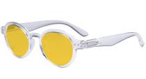 Round Blue Light Blocking Glasses Women Men - Anti UV Ray Cut Digital Screen Glare Oval Computer Eyeglasses Reading Glasses with Amber Tinted Filter Lens - Transparent HP070