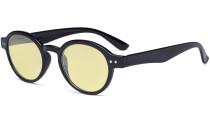 Round Blue Light Blocking Glasses Women Men - Anti UV Ray Cut Digital Screen Glare Oval Computer Eyeglasses Reading Glasses with Yellow Filter Lens - Black TM070
