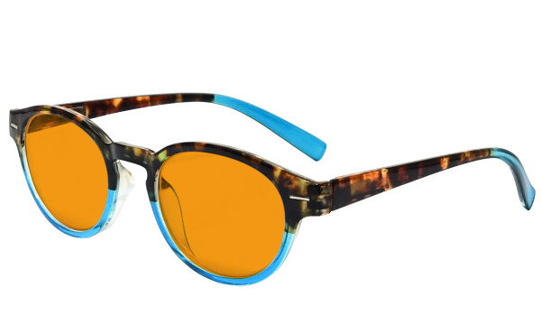 Blue Blocking Glasses Reading Glasses for Women Nighttime Reading Computer Oval Blue Light Filter Readers Orange Tinted - Tortoise/Blue DS091D