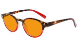 Blue Blocking Glasses Reading Glasses for Women Nighttime Reading Computer Oval Blue Light Filter Readers Orange Tinted - Tortoise/Red DS091D