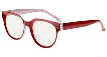Blue Light Filter Progressive Readers Women - Oversize Multifocus Computer Glasses - Noline Trifocal Reading Glasses - Red M9110