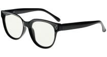 Blue Light Filter Progressive Readers Women - Oversize Multifocus Computer Glasses - Noline Trifocal Reading Glasses - Black M9110