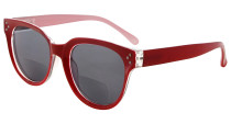 Bifocal Glasses for Women Reading under the Sun Stylish Bifocal Readers Tinted Lens - Red SBR9110